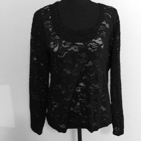 Chico's Stretchy Black Long Sleeve Lace Top Size 2
